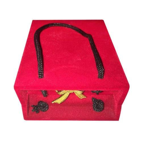 جعبه جواهر مخمل طرح ساک دستی