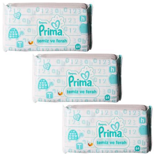 دستمال مرطوب پمپرز پریما تمیز کننده کودک مدل temiz ve ferah - بسته 192 عددی