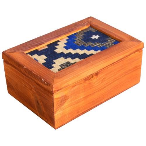 جعبه چوبی گروه هنری دست استودیو طرح جاجیم مستطیل مدل 00-08 سایز کوچک