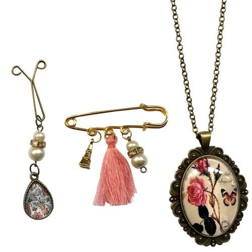 مجموعه گیره روسری، رومانتویی و گل سینه نگین گالری مدل ترنج
