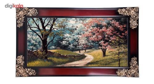 تابلو فرش ماشینی دنیای فرش طرح باغ بهاری کد 149