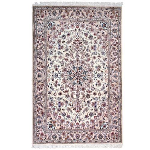 فرش دستباف گل ابریشم گالری سلام کد 960902 طرح لچک ترنج