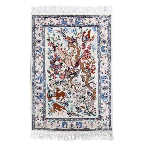 فرش دستبافت گل ابریشم گالری سلام مدل 182003 طرح شکارگاه