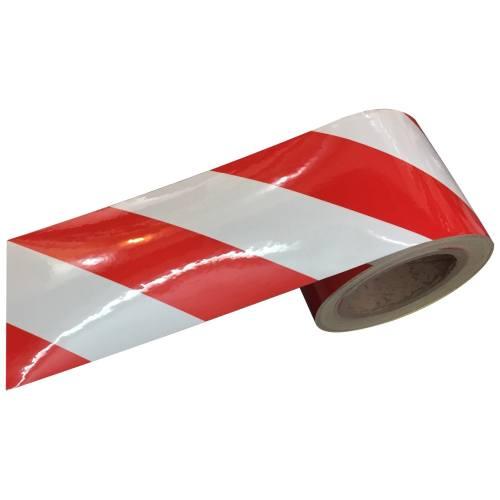 نوار شبرنگ راه راه سفید قرمز 8.5 سانتی متر