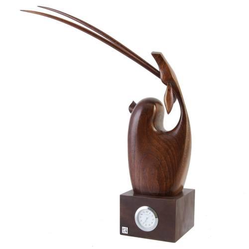 مجسمه چوبی آهوی نشسته طرح ساعتدار کد 190002