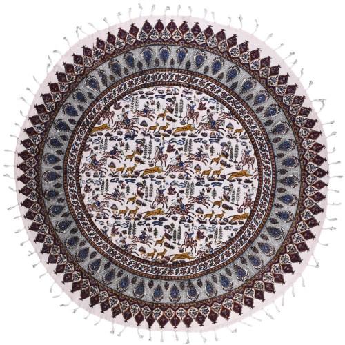 سفره قلمکار ممتاز نرگس خانی طرح شکارگاه مدل 01-03 دایره قطر 100