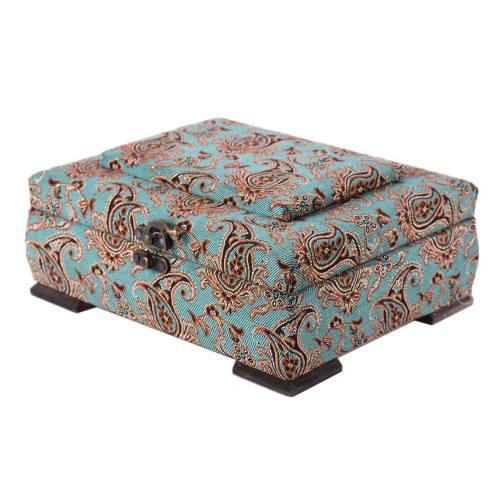 جعبه چوبی پایا چرم طرح ترمه مدل 02-02 سایز متوسط