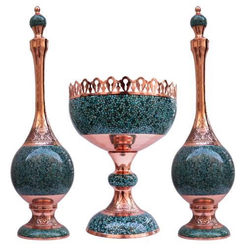 تنگ و کاسه فیروزه کوب  مدل 368256 مجموعه سه عددی گالری جعفری