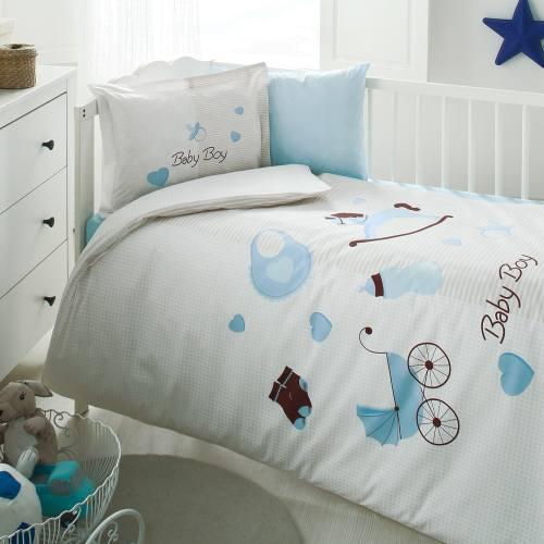 سرویس لحاف 8 تکه خواب نوزاد ازدیلک سری رنفورس طرح Baby boy