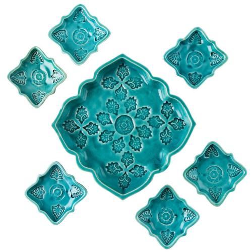 مجموعه ظروف هفت سین سفالی گالری آسوریک کد 86097