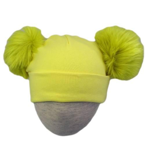 کلاه استرج  پوم پوم دار مدل  زرد