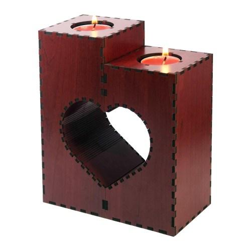 جاشمعی - شمعدان گالری چوب و شیشه مدل قلب دو تکه کد 112501