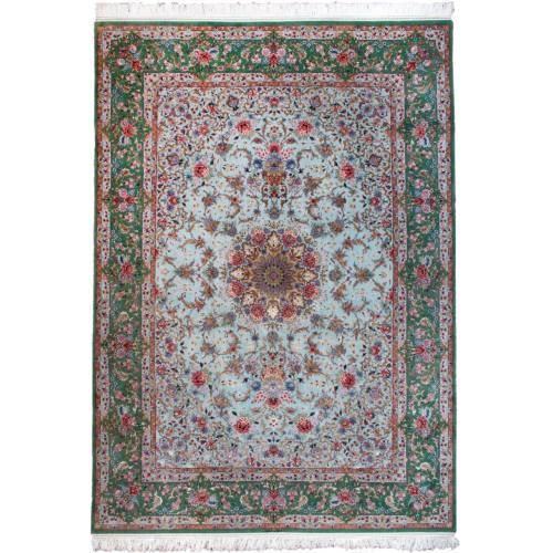 فرش دستبافت ابریشمی نه متری گالری سلام اثر استاد رضاپور کد RZ960091