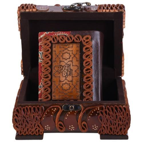 جعبه قرآنی پایاچرم طرح چرم و ترمه مدل 04 سایز کوچک
