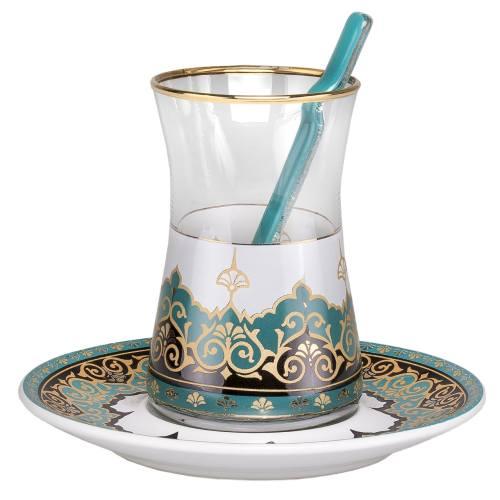 سرویس چای خوری 18 پارچه گلور گلس مدل 008