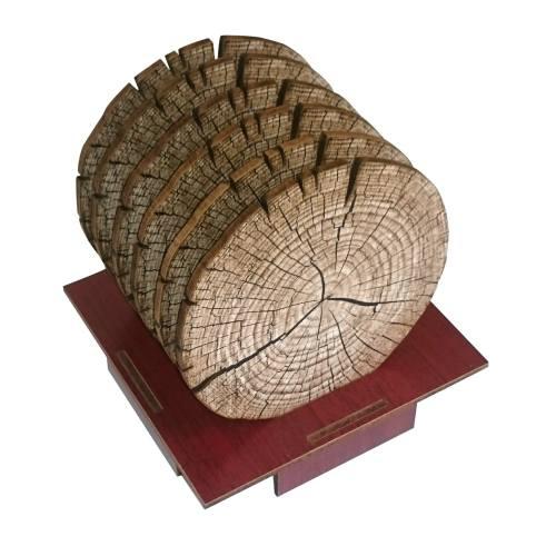 زیرلیوانی ژیوار طرح تنه درخت بسته 6 عددی