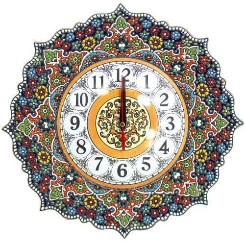 ساعت سفالی گالری دست نگار طرح میناکاری قطر 30 سانتی متر