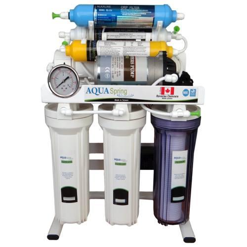 تصفیه آب خانگی آکوآاسپرینگ7 مرحله ای قلیایی- سوپرمینرال- اسمزمعکوس مدل RO-S151