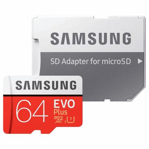 کارت حافظه microSDXC سامسونگ مدل Evo Plus کلاس 10 استاندارد UHS-I U1 سرعت 80MBps همراه با آداپتور SD ظرفیت 64 گیگابایت