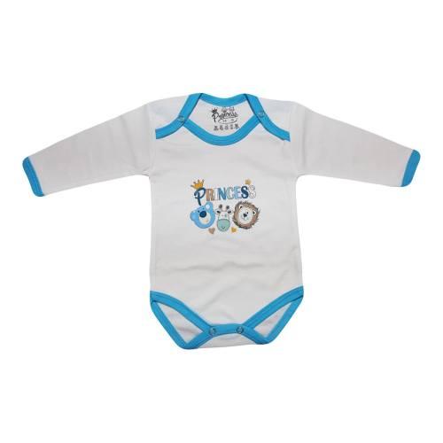 لباس زیر دکمه دار آستین بلند نوزادی برند پرنسس مدل BLUE-06