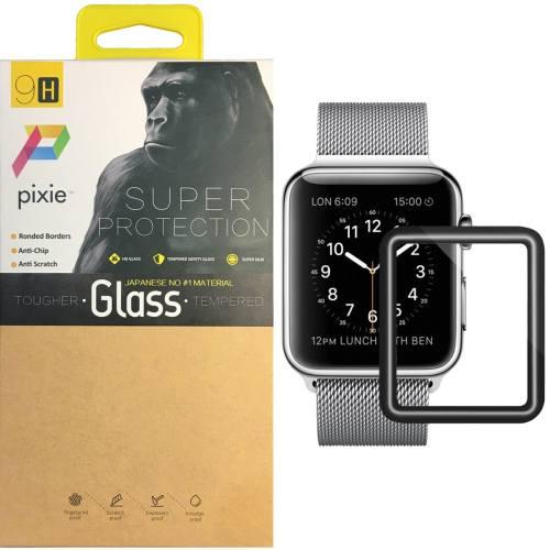 محافظ صفحه نمایش تمام چسب شیشه ای پیکسی  مدل New Edition 4D مناسب اپل واچ سایز 42 میلی متر