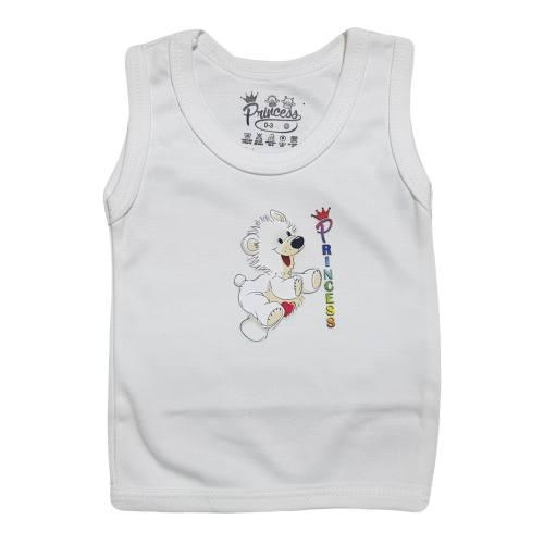 تی شرت آستین رکابی نوزادی برند پرنسس مدل WHITE-03
