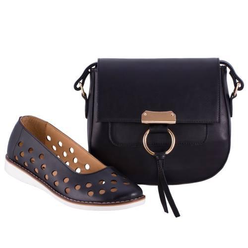 ست کیف و کفش زنانه ال پاسو مدل پانچی مشکی 300