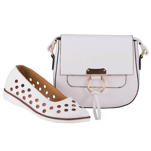 ست کیف و کفش زنانه ال پاسو مدل پانچی سفید 300
