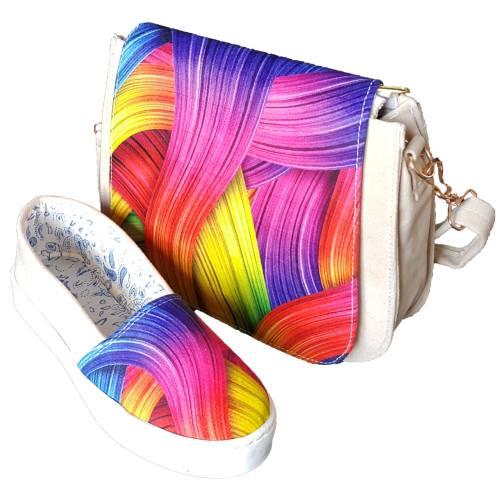 ست کیف و کفش روشا مدل Rainbow به همراه جاکلیدی طرح برج ایفل هدیه