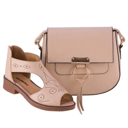 ست کیف و کفش زنانه ال پاسو مدل ویکتوریا کرم 108