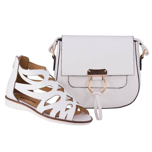 ست کیف و کفش زنانه ال پاسو مدل اشکی سفید 130
