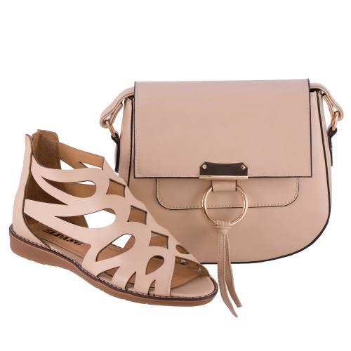 ست کیف و کفش زنانه ال پاسو مدل اشکی کرم 130