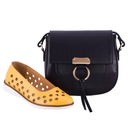 ست کیف و کفش زنانه ال پاسو مدل پانچی زرد 300