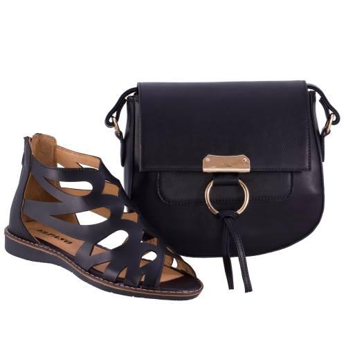 ست کیف و کفش زنانه ال پاسو مدل اشکی مشکی 130