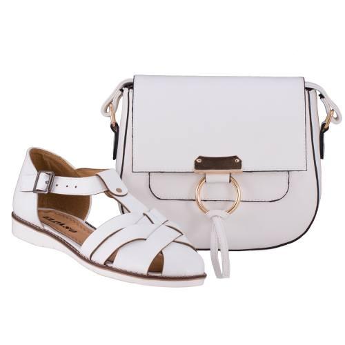 ست کیف و کفش زنانه ال پاسو مدل حصیری سفید 110