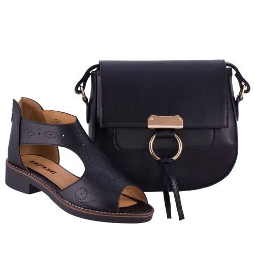 ست کیف و کفش زنانه ال پاسو مدل ویکتوریا مشکی 108