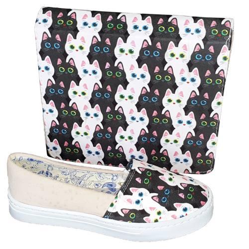 ست کیف و کفش روشا مدل Cute Cats به همراه جاکلیدی طرح برج ایفل هدیه
