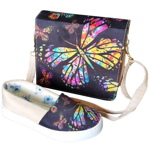 ست کیف و کفش روشا مدل Beautiful Butterflies  به همراه جاکلیدی طرح برج ایفل هدیه