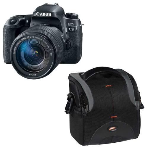 دوربین دیجیتال کانن مدل EOS 77D به همراه لنز 18-135 میلی متر USM و کیف دوربین سافروتو مدل H-201