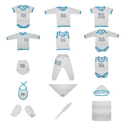 ست کامل پانزده تکه لباس نوزادی برند پرنسس مدل BLUE