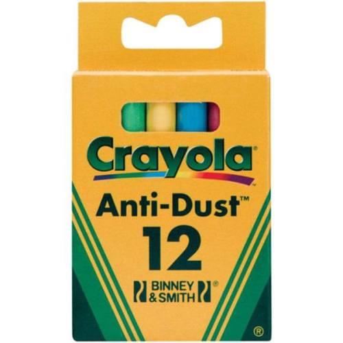 گچ رنگی کرایولا مدل Anti Dust بسته 12 عددی