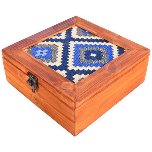 جعبه چوبی گروه هنری دست استودیو طرح جاجیم مربع مدل 00-11 سایز بزرگ
