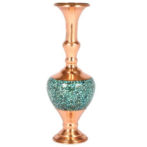 گلدان مسی فیروزه کوب گالری گوهران مدل کرواتی مس فیروزه 1164