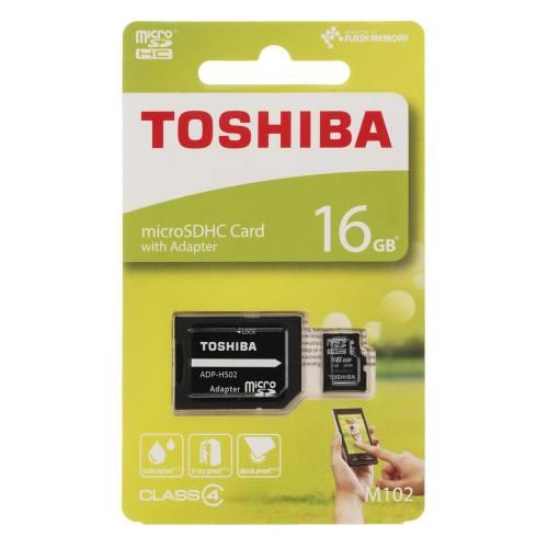 کارت حافظه microSDHC توشیبا مدل M102 کلاس 4 همراه با آداپتور SD ظرفیت 16 گیگابایت