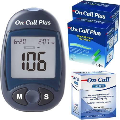 دستگاه تست قند خون ایکان مدل On Call Plus G113-111 به همراه دو بسته نوار تست و یک بسته سوزن
