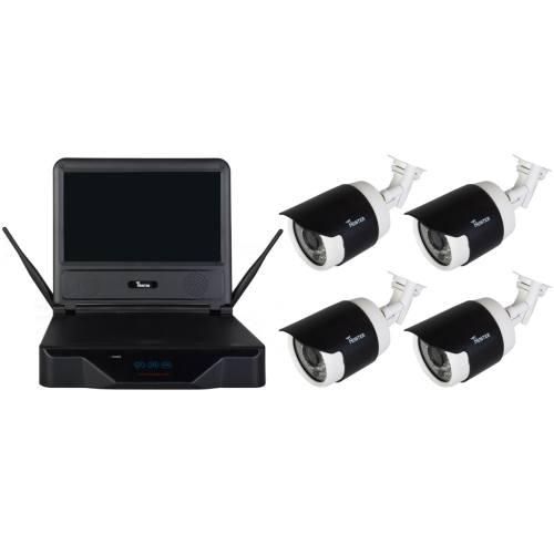 مجموعه دوربین وایرلس تحت شبکه همراه ضبط کننده تحت شبکه چهار کاناله هانتر مدل WKM304  مانیتوردار و بدون هارد دیسک