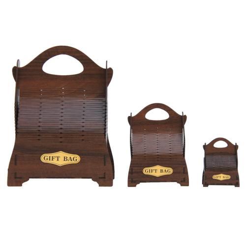 جعبه کادو چوبی کارا دیزاین مدل gift bag پک سه عددی