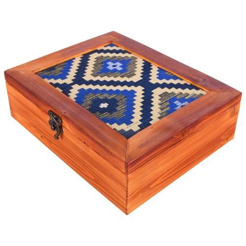 جعبه چوبی گروه هنری دست استودیو طرح جاجیم مستطیل مدل 00-12 سایز بزرگ