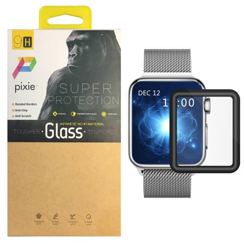 محافظ صفحه نمایش تمام چسب شیشه ای پیکسی  مدل 3D  مناسب اپل واچ سایز 42 میلی متر