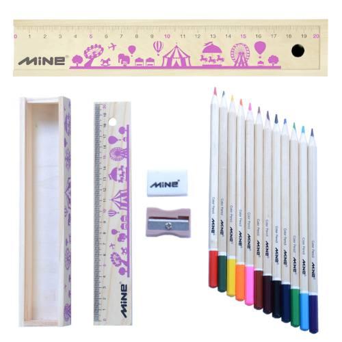مداد رنگی 12 رنگ ماین مدل جعبه چوبی